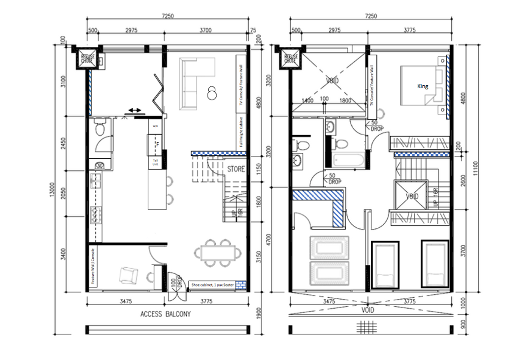 Tampines Avenue 5, Fifth Avenue Interior, Modern, Industrial, HDB, Executive Maisonette Floorplan, Final Floorplan