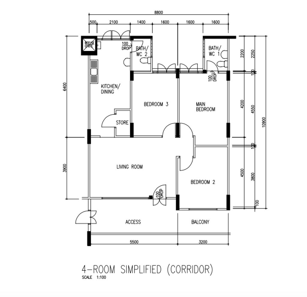 Modern, HDB, Jalan Bahagia, Interior Designer, Fifth Avenue Interior, Eclectic, 4 Room Hdb Floorplan, Before Floorplan