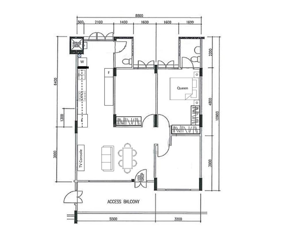 Modern, HDB, Jalan Bahagia, Interior Designer, Fifth Avenue Interior, Eclectic, 4 Room Hdb Floorplan, Final Floorplan