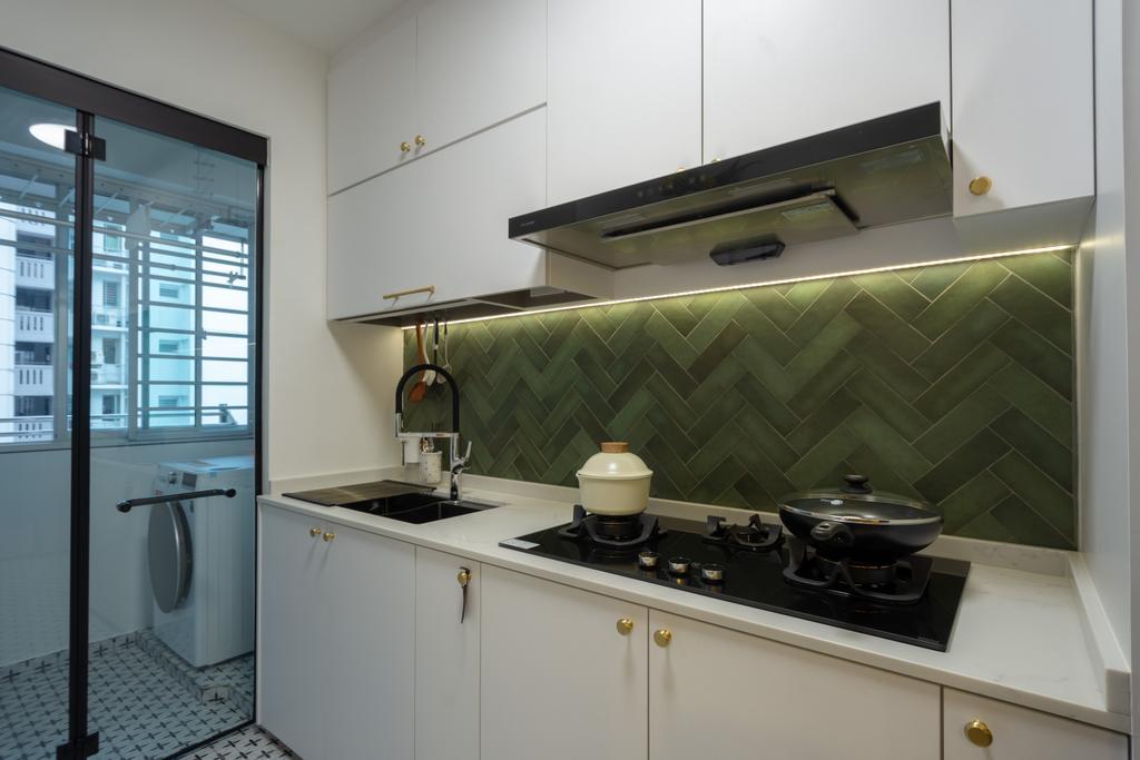 Contemporary, HDB, Kitchen, Punggol Drive, Interior Designer, A Blue Cube Design, Scandinavian