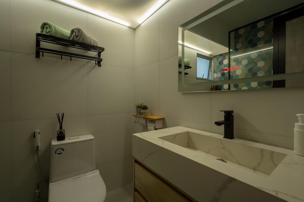 Contemporary, HDB, Bathroom, Punggol Drive, Interior Designer, A Blue Cube Design, Scandinavian