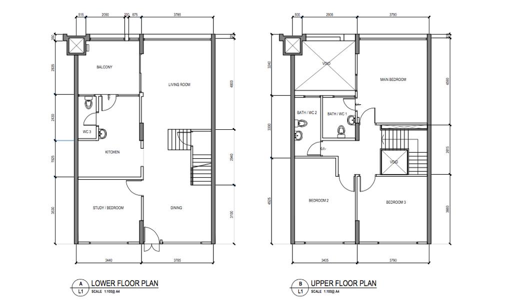 Contemporary, HDB, Tampines, Interior Designer, Free Space Intent, Eclectic, Executive Maisonette Floorplan, Before Floorplan