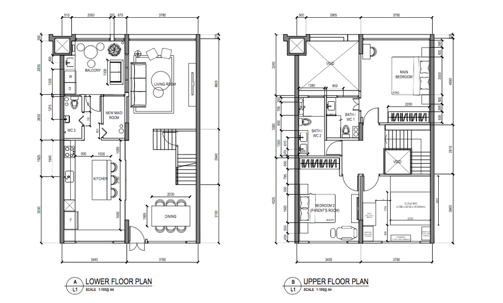 Contemporary, HDB, Tampines, Interior Designer, Free Space Intent, Eclectic, Executive Maisonette Floorplan, Final Floorplan
