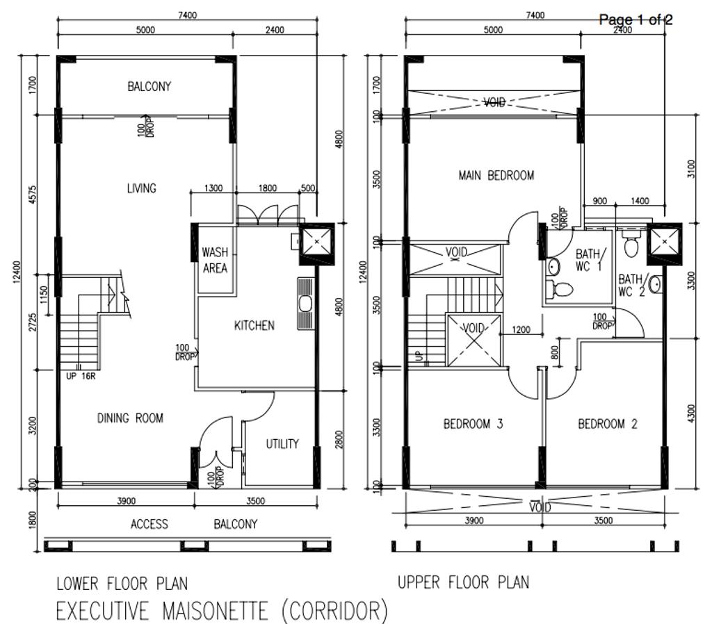 Contemporary, HDB, Jurong West Street 42, Interior Designer, The Local Project, Executive Maisonette Floorplan, Before Floorplan