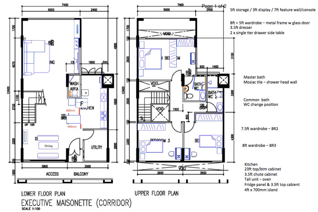 Jurong West Street 42, The Local Project, Contemporary, HDB, Executive Maisonette Floorplan, Final Floorplan