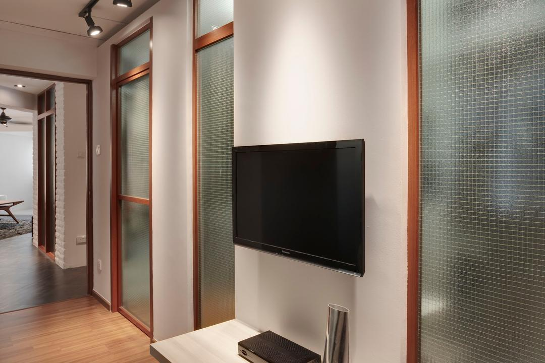 Hougang, The Design Practice, Scandinavian, Living Room, HDB, Tv Console, Frosted Door, Recessed Lights, Spot Light, Wood, Laminate