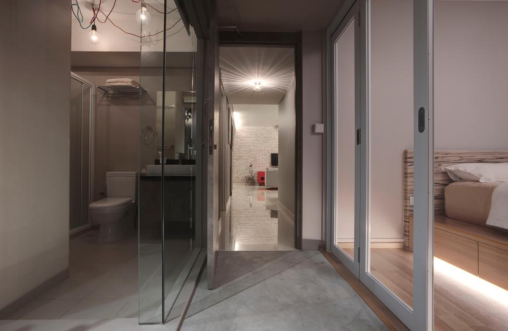 Industrial, HDB, Living Room, Ang Mo Kio, Interior Designer, The Design Practice, Partition, Glass Partition, Sliding Door, Concealed Lighting, Hanging Lights, Corridoor, Privacy, Minimal, Cement Flooring, Toilet, Couch, Furniture