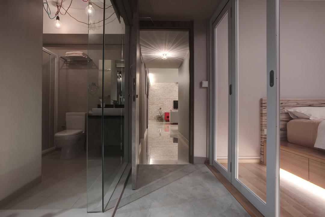 Ang Mo Kio, The Design Practice, Industrial, Living Room, HDB, Partition, Glass Partition, Sliding Door, Concealed Lighting, Hanging Lights, Corridoor, Privacy, Minimal, Cement Flooring, Toilet, Couch, Furniture