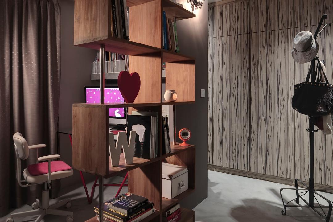 Ang Mo Kio, The Design Practice, Industrial, Study, HDB, Display Shelf, Shelf, Shelves, Ornaments, Coat Rack, Closet, Wardrobe, Wood Laminate, Wood, Laminate, Cement Flooring, Mat, Track Lighting, Chair, Furniture, Studio