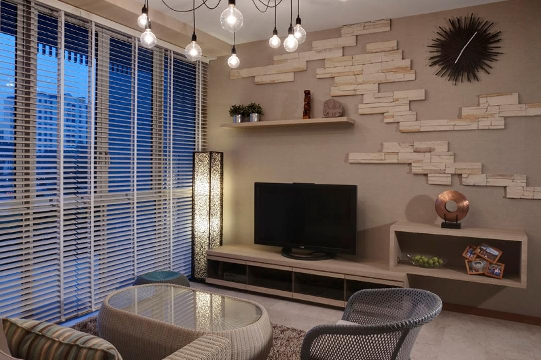 Hillvista, The Design Practice, Contemporary, Living Room, Condo, Rug, Rocking Chair, Sofa, Coffee Table, Table, Hanging Light, Lighting, Full Length Windows, Venetian Blinds, Tv Console, Brick Shelf, Display Shelf, Raw, Clock, Shelf, Shelves, Standing Lamp, Chair, Furniture, Light Fixture