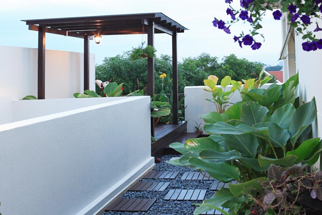 Mimosa Place, The Design Practice, Traditional, Garden, Condo, Outdoors, Veranda, Pebbles, Deck Flooring, Parquet, Columns, Plants, Flora, Jar, Plant, Potted Plant, Pottery, Vase, Gardening