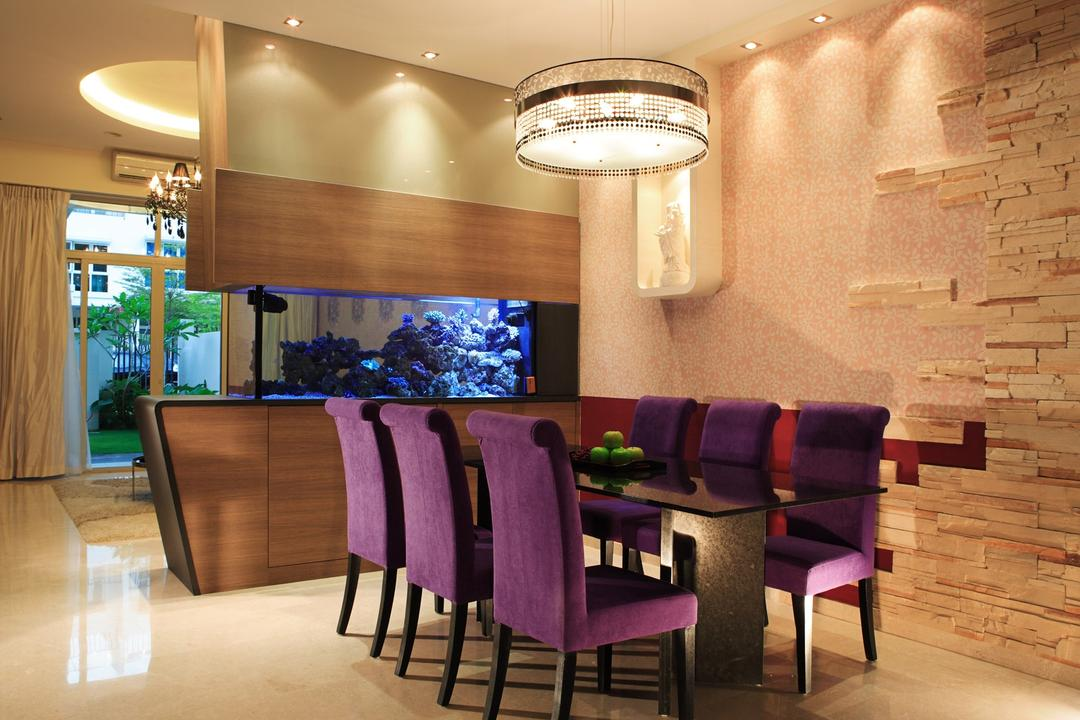 Mimosa Place, The Design Practice, Traditional, Dining Room, Condo, Chair, Dining Table, Table, Hanging Light, Pendant Light, Fish Tank, Marble Flooring, Wood Laminate, Wood, Laminate, Brick Wall, Raw, Pink, Furniture, Indoors, Interior Design, Room