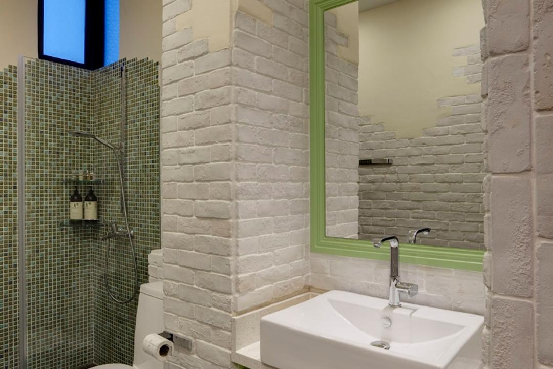 The Summit, The Design Practice, Contemporary, Bathroom, Condo, Green, White, Mirror, Brick Wall, White Brick Wall, Mosaic Tiles, Mosaic, Bathroom Counter, Vessel Sink, Glass Cubicle, Beige, Stone Flooring, Indoors, Interior Design, Room, Hydrant