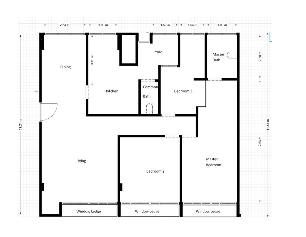 Contemporary, Condo, Queensway Tower, Interior Designer, Anhans Interior Design, 3 Bedder Condo Floorplan, Before Floorplan