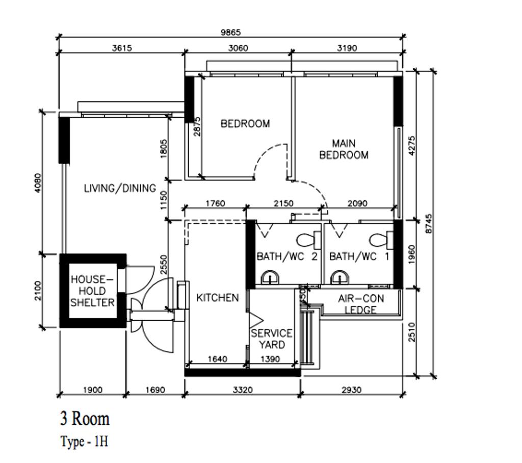 Scandinavian, HDB, Anchorvale Lane, Interior Designer, ECasa Studio, 3 Room Hdb Floorplan, Before Floorplan