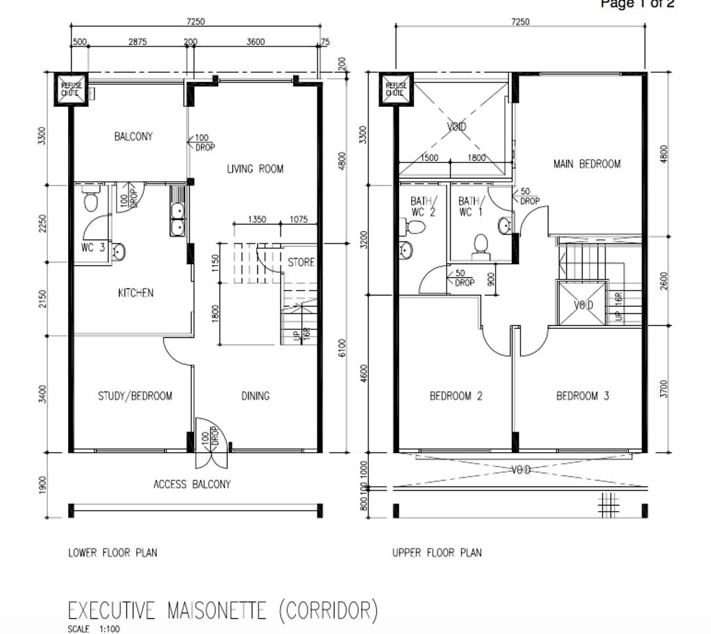 Contemporary, HDB, Pasir Ris Street 11, Interior Designer, Todz'Terior, Executive Maisonette Floorplan, Before Floorplan