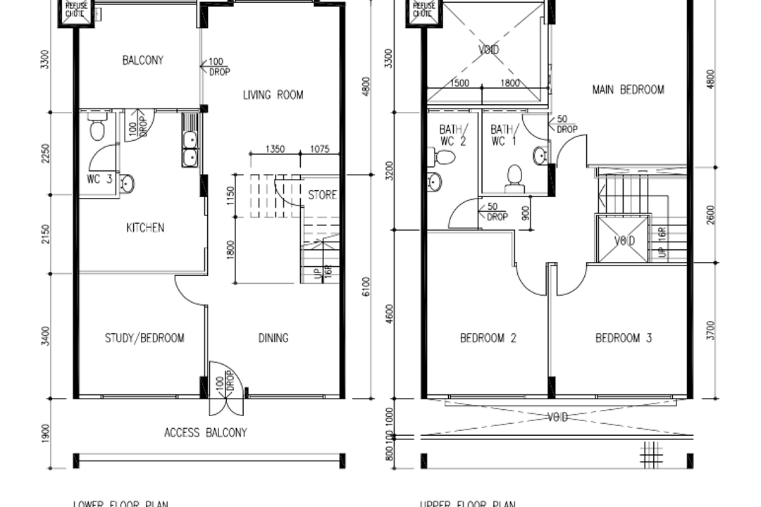 Pasir Ris Street 11, Todz'Terior, Contemporary, HDB, Executive Maisonette Floorplan, Before Floorplan
