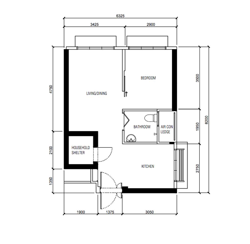 Contemporary, HDB, Ang Mo Kio Street 23, Interior Designer, Ovon Design, 2 Room Hdb Floorplan, 2 Room Hdb Before Floorplan, Studio Apartment