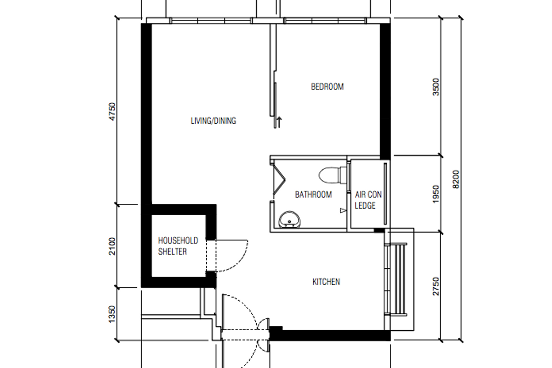 Ang Mo Kio Street 23, Ovon Design, Contemporary, HDB, 2 Room Hdb Floorplan, 2 Room Hdb Before Floorplan, Studio Apartment