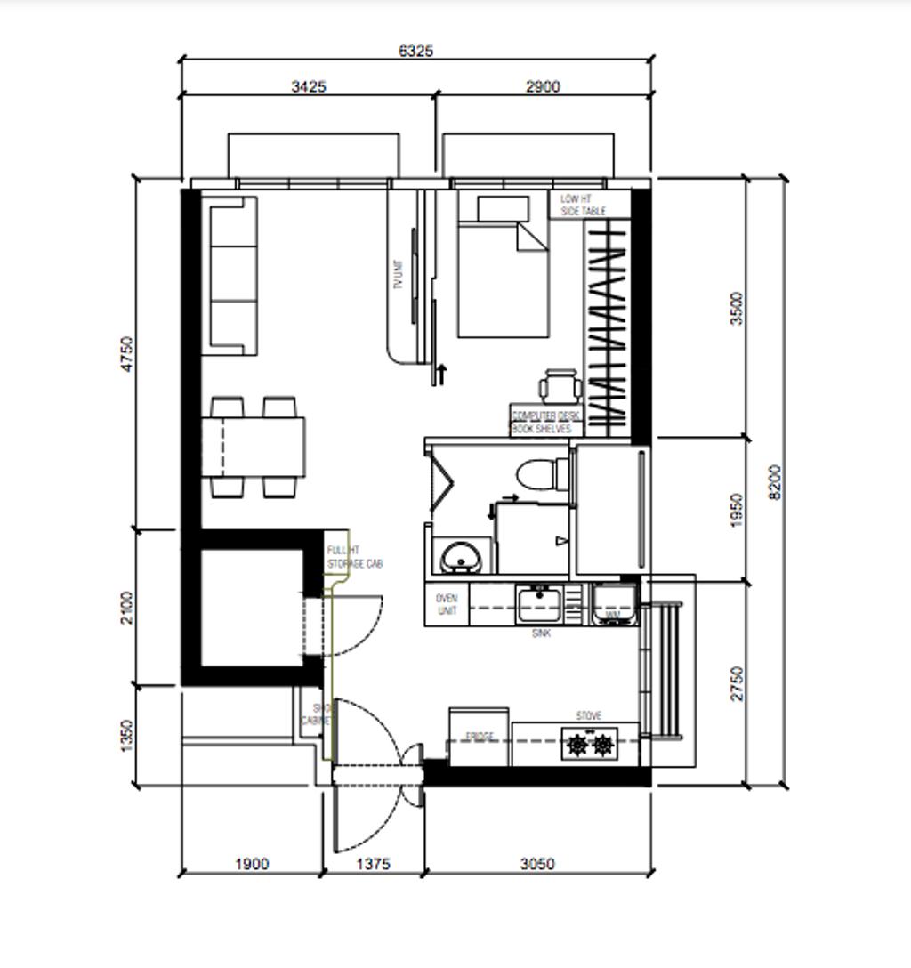 Contemporary, HDB, Ang Mo Kio Street 23, Interior Designer, Ovon Design, 2 Room Hdb Floorplan, 2 Room Hdb Final Floorplan, Studio Apartment