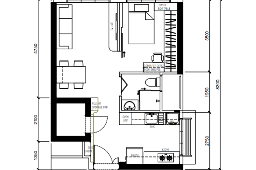 Ang Mo Kio Street 23, Ovon Design, Contemporary, HDB, 2 Room Hdb Floorplan, 2 Room Hdb Final Floorplan, Studio Apartment