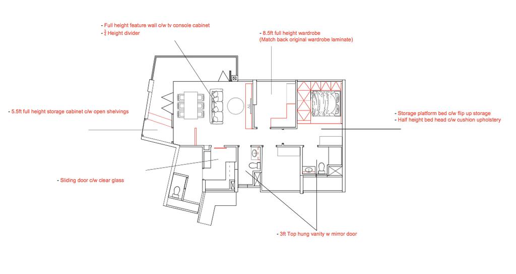 Contemporary, Condo, Northwave, Interior Designer, 13th Design Studio, 3 Bedder Condo Floorplan, Final Floorplan