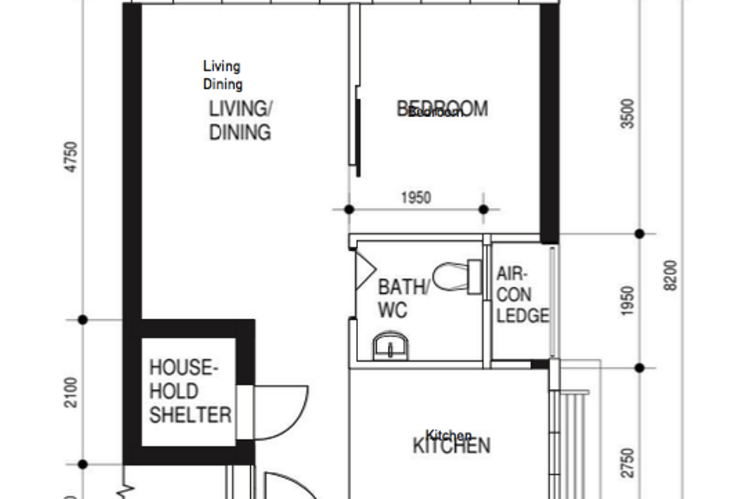 Ang Mo Kio Street 23, The Makers Design Studio, Contemporary, HDB, 2 Room Hdb Floorplan, Before Floorplan