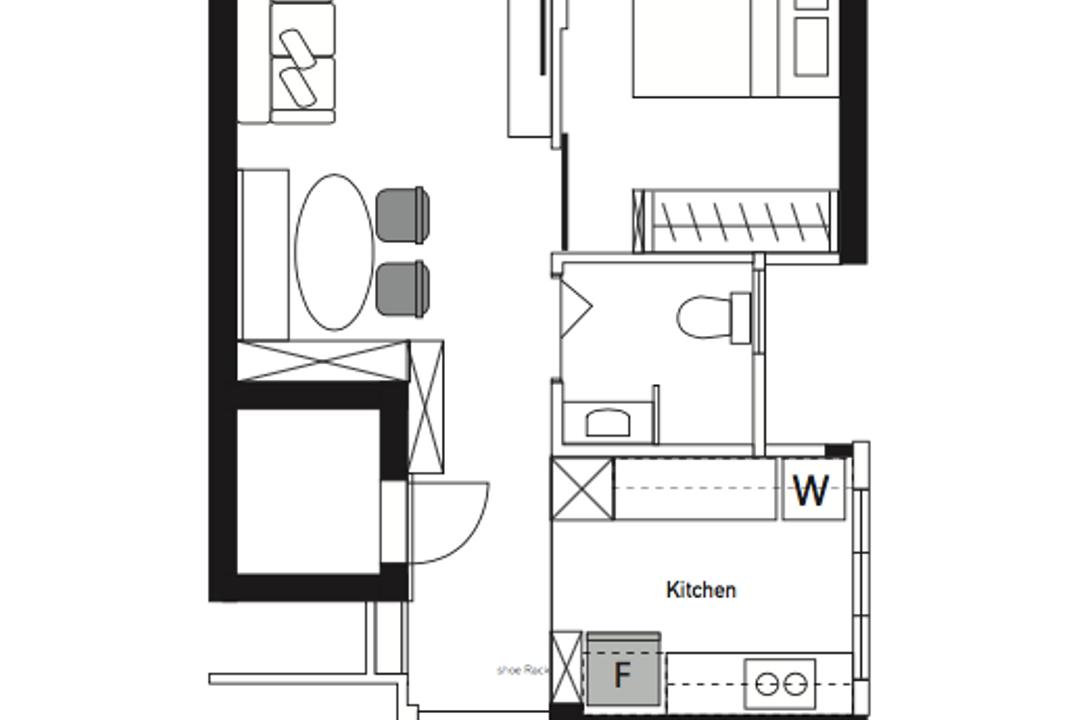 Ang Mo Kio Street 23, The Makers Design Studio, Contemporary, HDB, 2 Room Hdb Floorplan, Final Floorplan