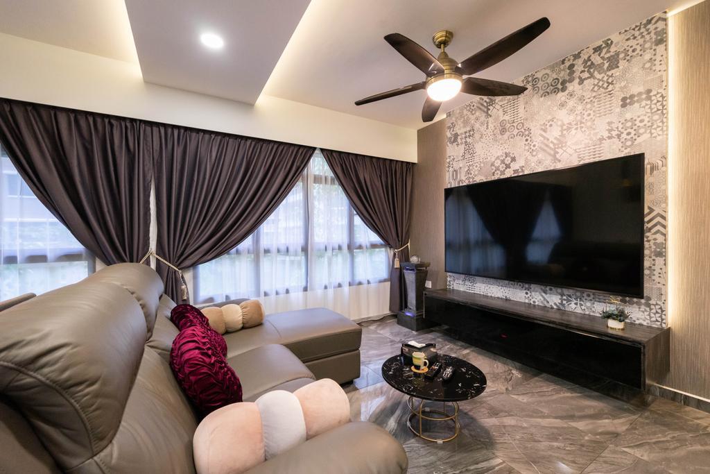 Contemporary, HDB, Living Room, Buangkok Edgeview, Interior Designer, Design 4 Space