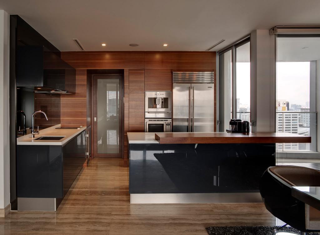Modern, Condo, Kitchen, Orchard Residence, Interior Designer, Hue Concept Interior Design, Full Length Windows, Parquet, Parquet Wall, Kitchen Counter, Bar Counter, Warm Tones, Sink, Indoors, Interior Design, Room
