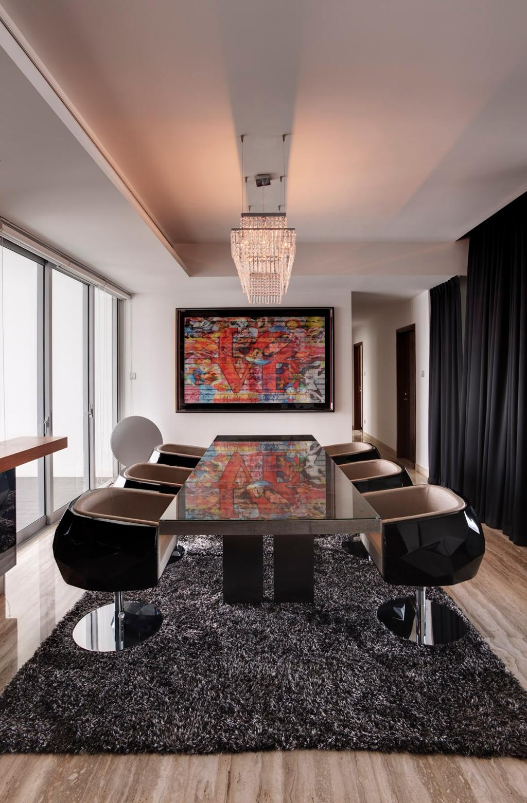Modern, Condo, Dining Room, Orchard Residence, Interior Designer, Hue Concept Interior Design, Curtains, False Ceiling, Hanging Light, Pendant Light, Dining Table, Table, Rug, Chair, Full Length Windows, Parquet, Painting, Muted Tones, Furniture, Indoors, Room, Interior Design, Art