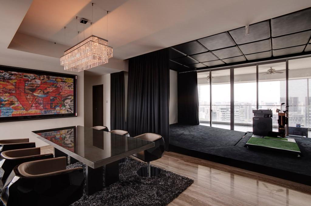 Modern, Condo, Dining Room, Orchard Residence, Interior Designer, Hue Concept Interior Design, Hanging Light, Pendant Light, False Ceiling, Dining Table, Chair, Rug, Painting, Parquet, Curtains, Full Length Windows, Platform, Feature Ceiling, Artificial Lawn, Tile, Tiles, Furniture, Luggage, Suitcase, Indoors, Interior Design, Room, Table