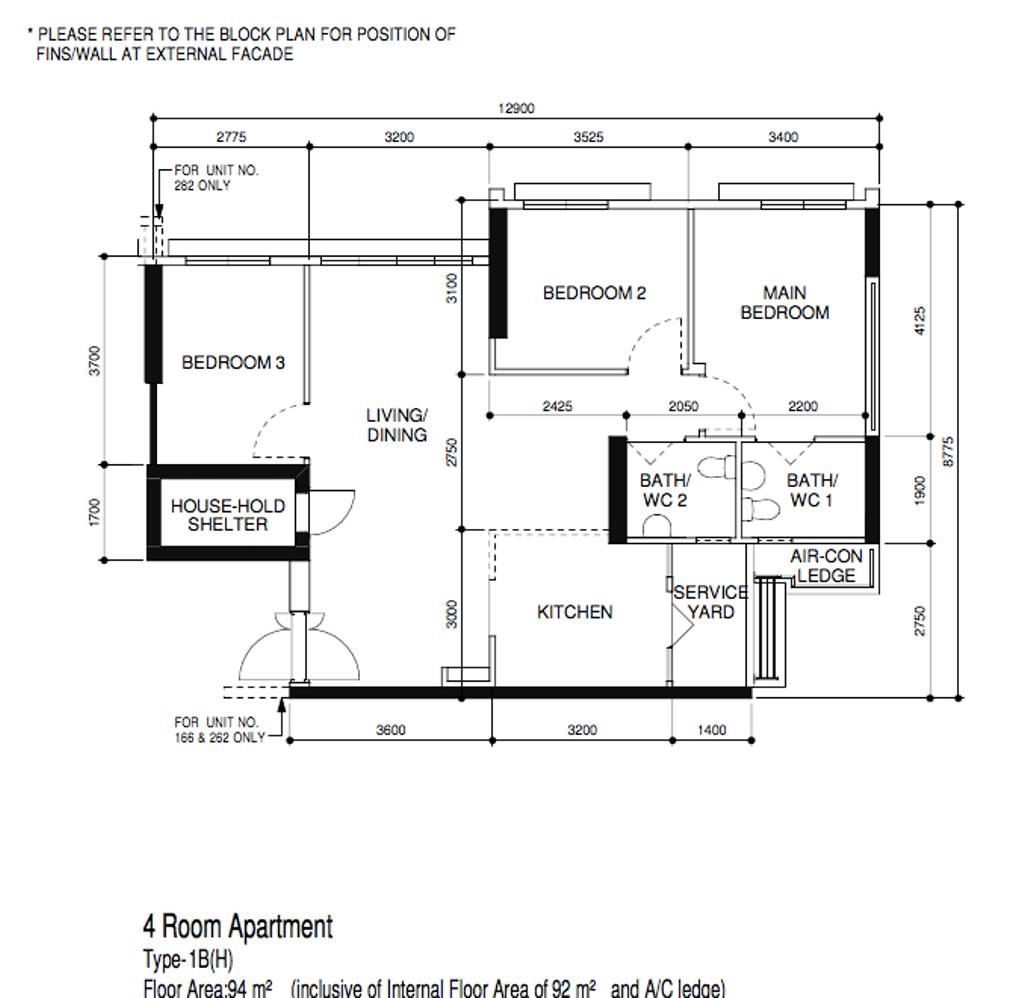 Scandinavian, HDB, Northshore Drive, Interior Designer, Our Interior, 4 Room Hdb Floorplan, Before Floorplan, Type 1 B H