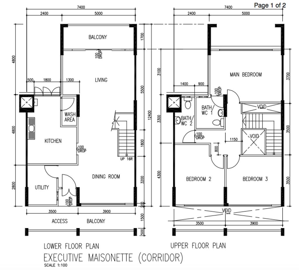 Contemporary, HDB, Bukit Batok East Avenue 3, Interior Designer, Our Interior, Executive Maisonette Floorplan, Corridor, Before Floorplan
