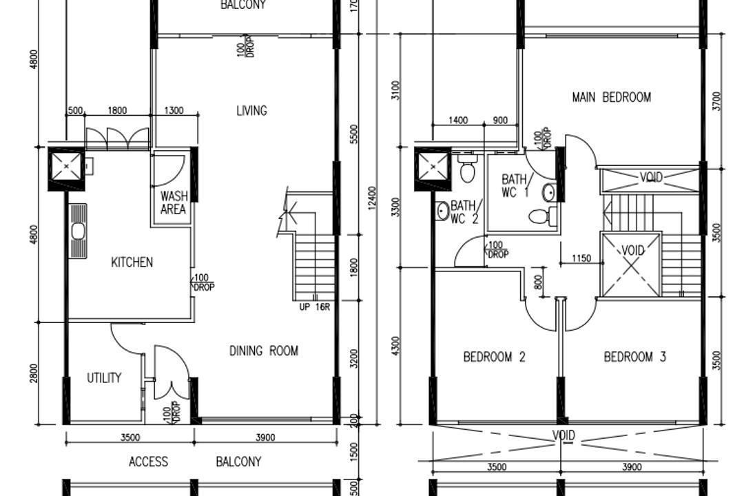 Bukit Batok East Avenue 3, Our Interior, Contemporary, HDB, Executive Maisonette Floorplan, Corridor, Before Floorplan