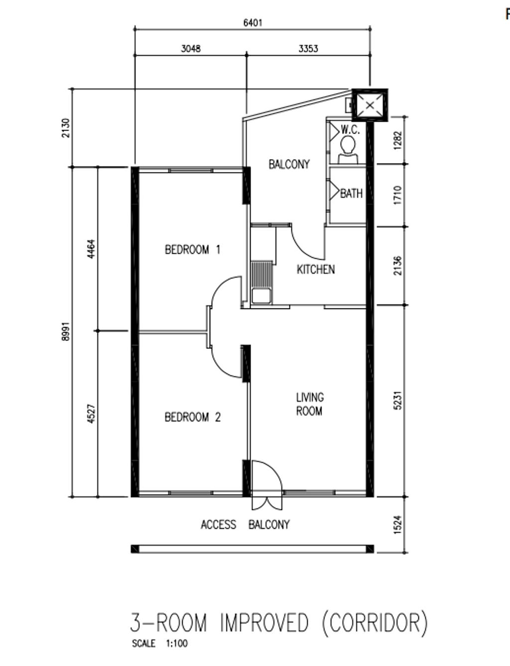 Contemporary, HDB, Lorong 2 Toa Payoh, Interior Designer, Our Interior, 3 Room Hdb Floorplan, 3 Room Inproved, Corridor, Before Floorplan