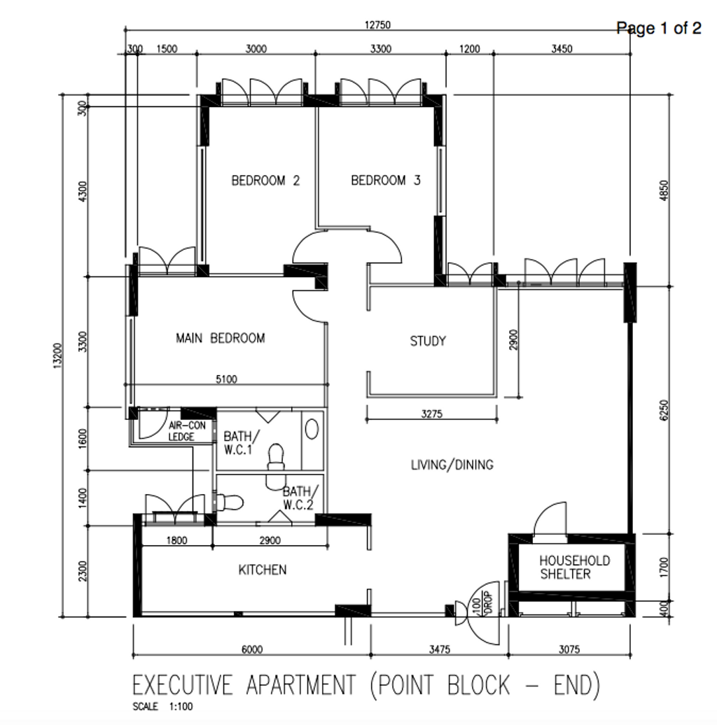 Contemporary, HDB, Canberra Road, Interior Designer, Our Interior, Scandinavian, Executive Apartment Floorplan, Point Block End, Before Floorplan