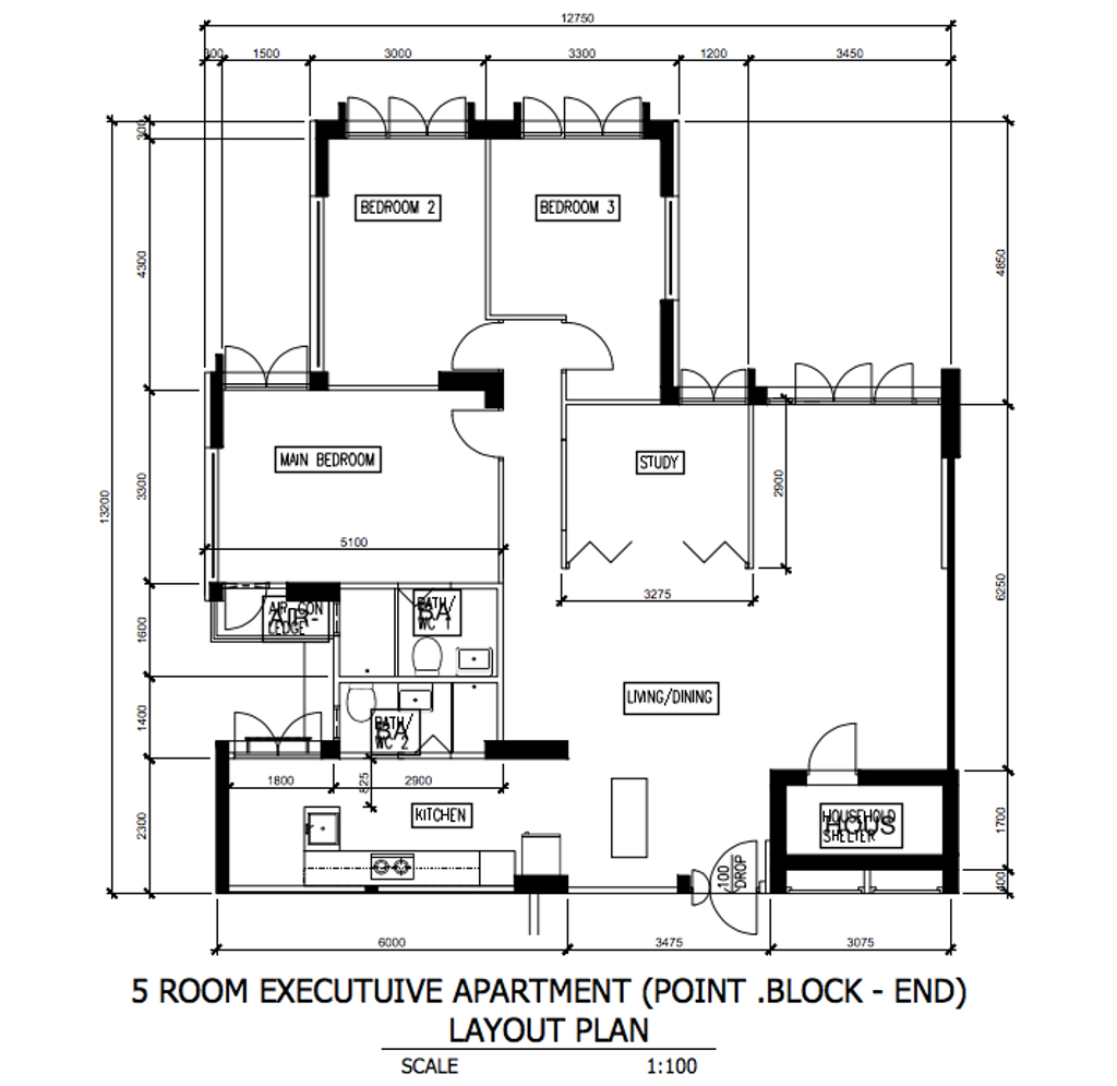 Contemporary, HDB, Canberra Road, Interior Designer, Our Interior, Scandinavian, Executive Apartment Floorplan, Point Block End, Final Floorplan