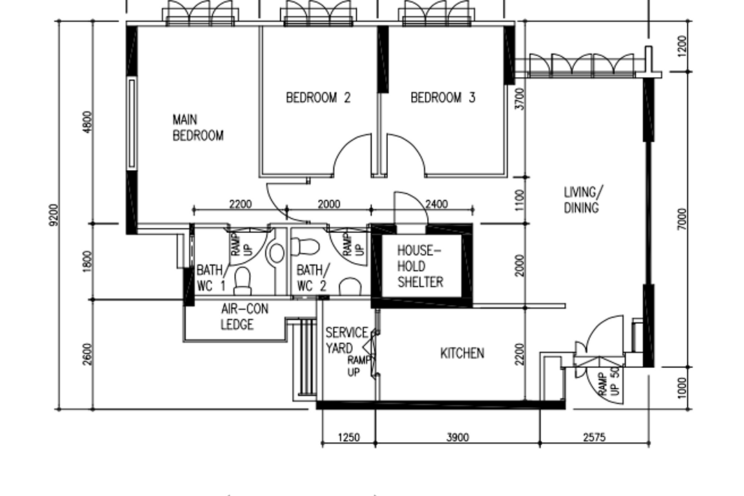 Segar Road, Our Interior, Contemporary, HDB, 4 Room Hdb Floorplan, Type 1, Point Block, Before Floorplan