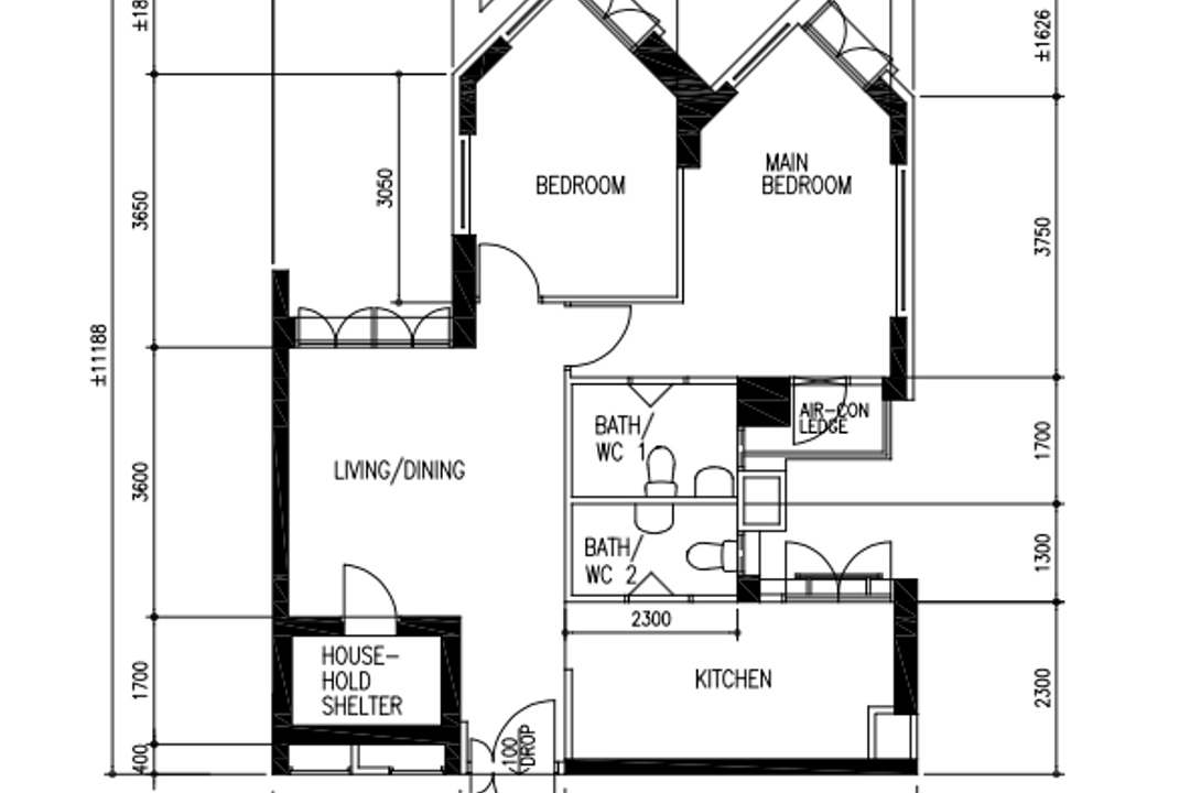 Farrer Park Road, Our Interior, Contemporary, HDB, 3 Room Hdb Floorplan, Point Block End, Before Floorplan