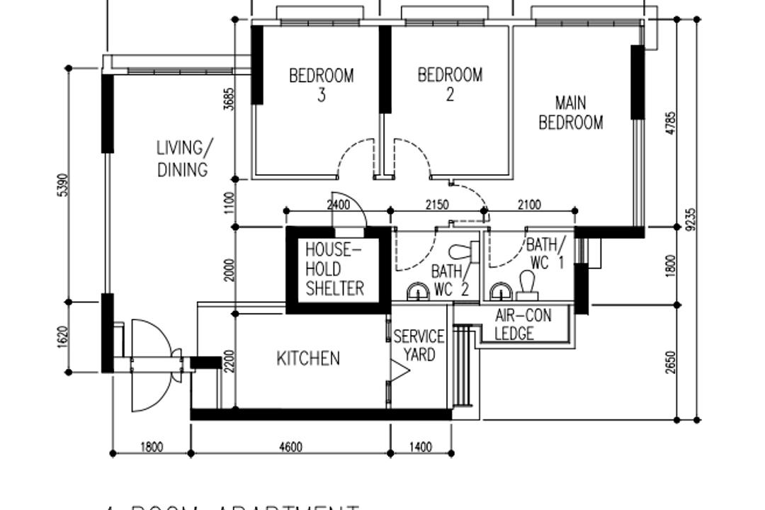 Telok Blangah Street 31, Our Interior, Contemporary, Scandinavian, HDB, 4 Room Hdb Floorplan, Type 6, Before Floorplan