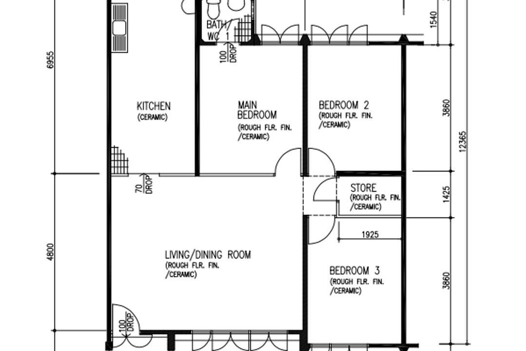 Bukit Batok Street 31, Our Interior, Contemporary, HDB, 4 Room Hdb Floorplan, Corridor End, Before Floorplan