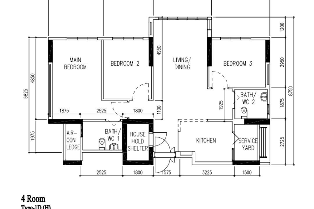 Bidadari Park Drive, Carpenter Direct, Modern, Industrial, HDB, 4 Hdb Floorplan, Type Id H, Before Floorplan