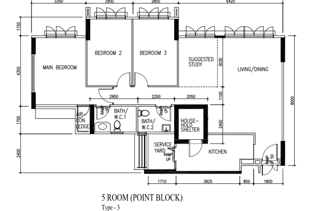 Yishun Avenue 9, Carpenters 匠, Contemporary, Scandinavian, HDB, 5 Room Hdb Floorplan, Point Block, Type 3, Before Floorplan