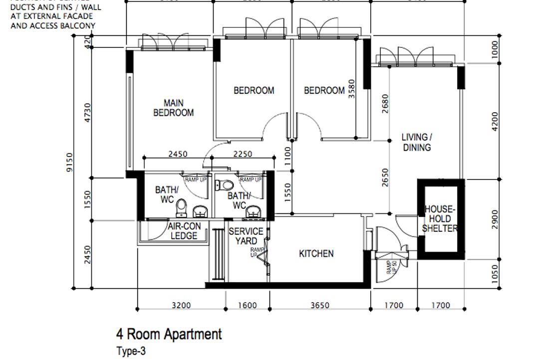 Circuit Road, Key Concept, Minimalistic, Contemporary, HDB, 4 Room Hdb Floorplan, Type 3, Before Floorplan