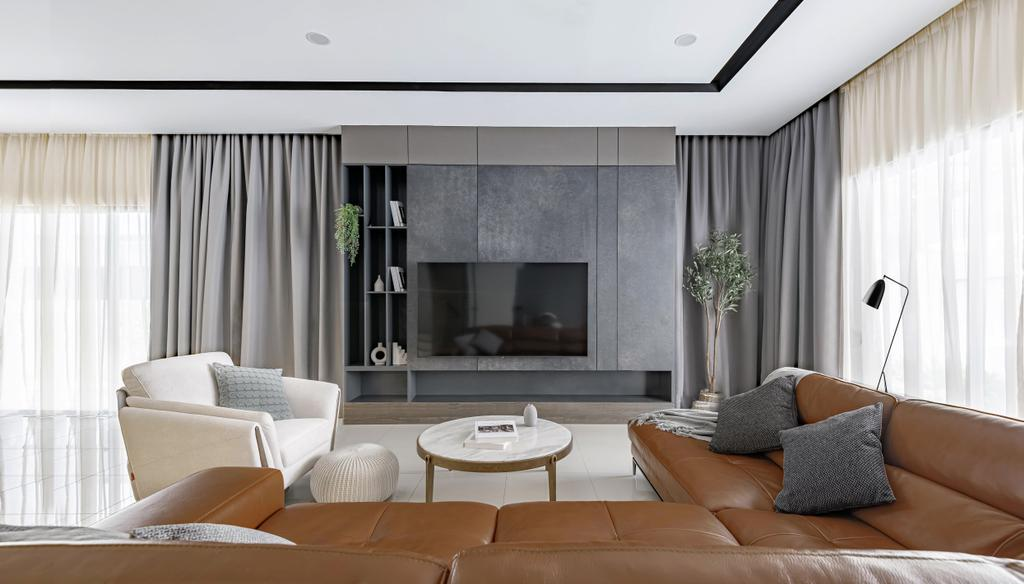 Modern, Landed, Living Room, Tropicana Aman, Kota Kemuning, Interior Designer, The Grid Studio, Contemporary