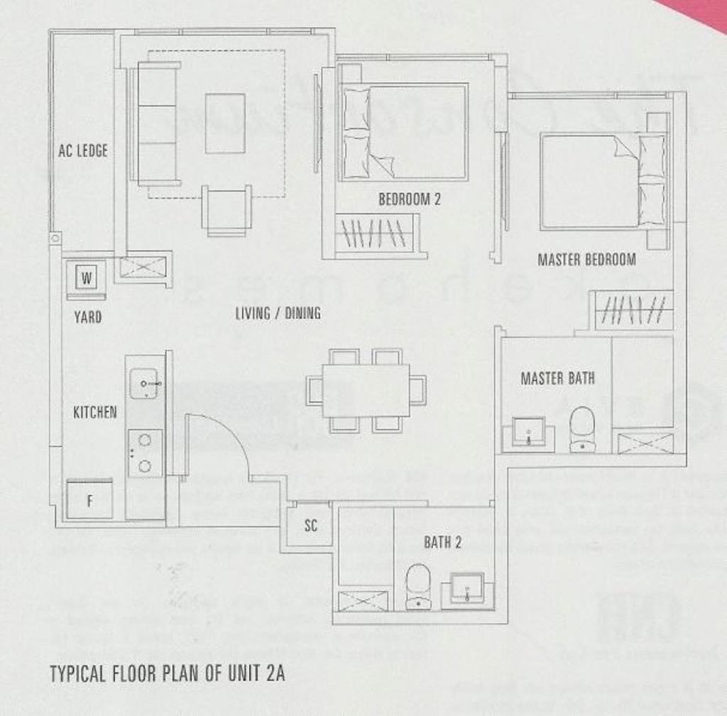Contemporary, Condo, The Adara, Interior Designer, MET Interior, 2 Bedder Condo Floorplan, Unit 2 A, Original Floorplan