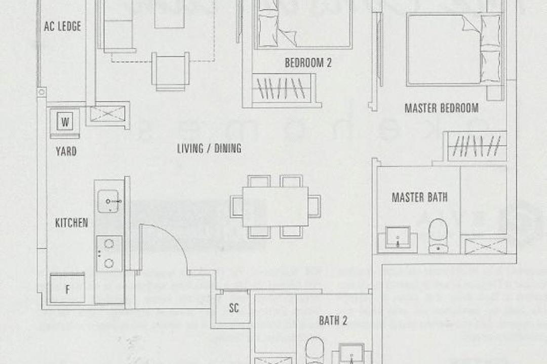 The Adara, MET Interior, Contemporary, Condo, 2 Bedder Condo Floorplan, Unit 2 A, Original Floorplan