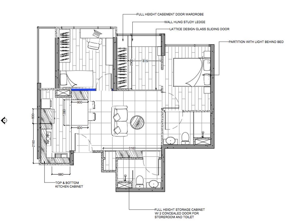 Contemporary, Condo, The Adara, Interior Designer, MET Interior, 2 Bedder Condo Floorplan, Unit 2 A, Final Floorplan