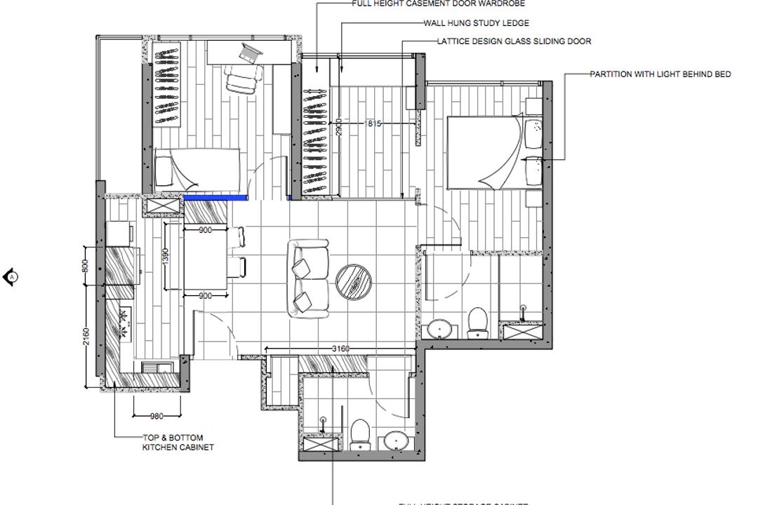The Adara, MET Interior, Contemporary, Condo, 2 Bedder Condo Floorplan, Unit 2 A, Final Floorplan